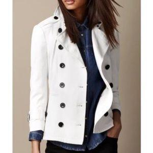 Burberry White Short Stretchcotton Trench Jacket